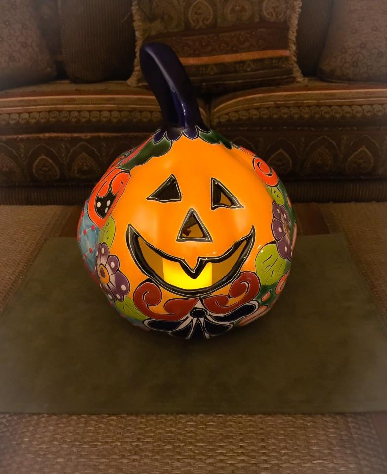 Celebrating fall with a Talavera jack-o'-lantern